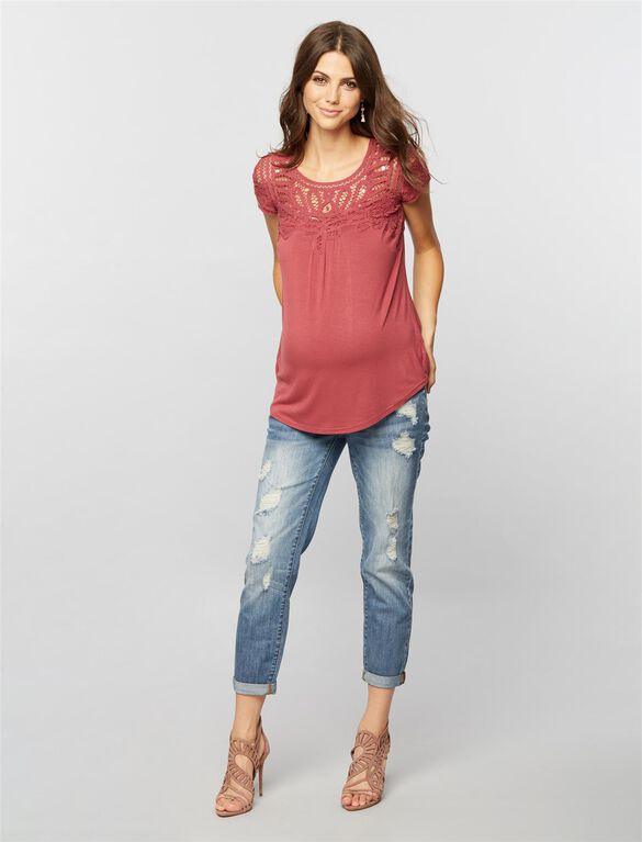 Daniel Rainn Button Detail Maternity T Shirt, Antique Rose
