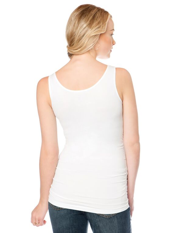 Side Ruched Seamless Maternity Tank Top, White