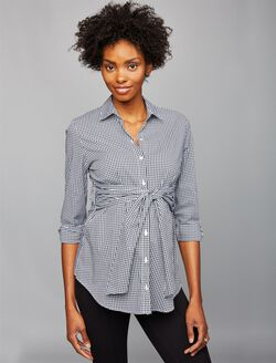 Isabella Oliver Gingham Maternity Shirt, Black/White Gingham