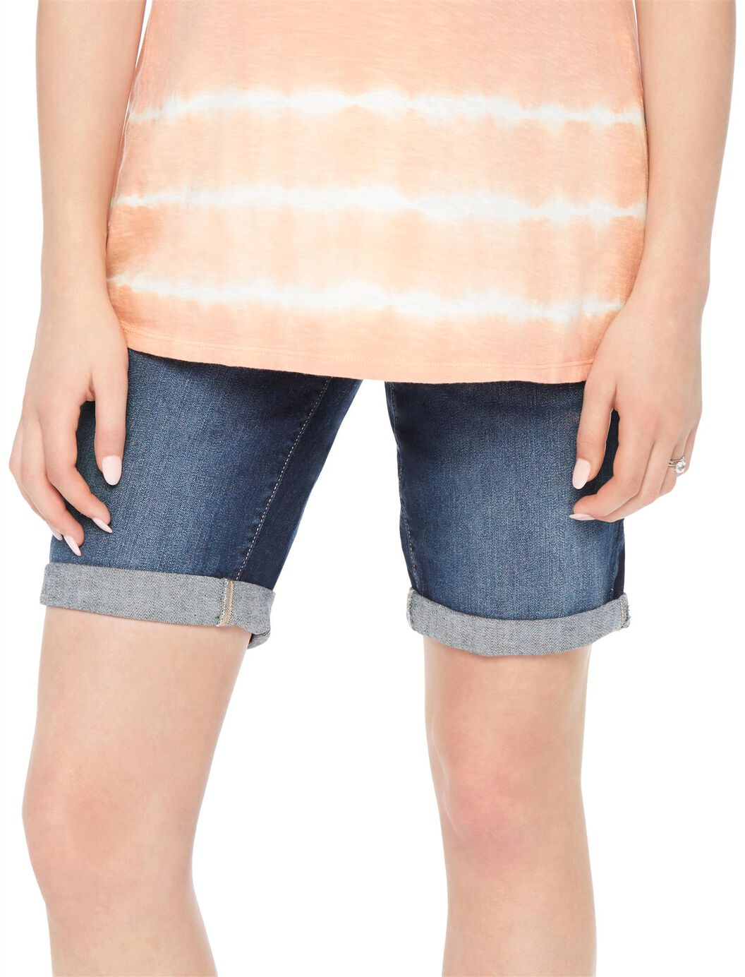 Secret Fit Belly Cuffed Maternity Bermuda Shorts at Motherhood Maternity in Victor, NY | Tuggl