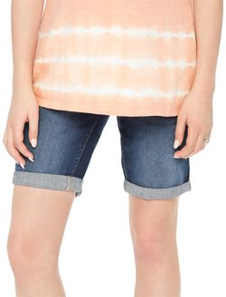 Secret Fit Belly Cuffed Maternity Bermuda Shorts, Dark Wash