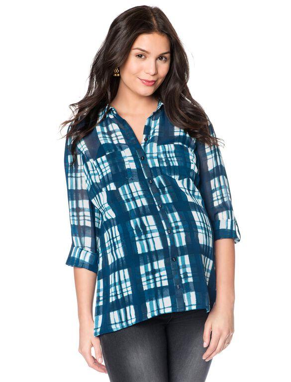 Wendy Bellissimo Back Interest Maternity Shirt, Blue Plaid