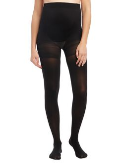Opaque Light Compression Maternity Tights, Black