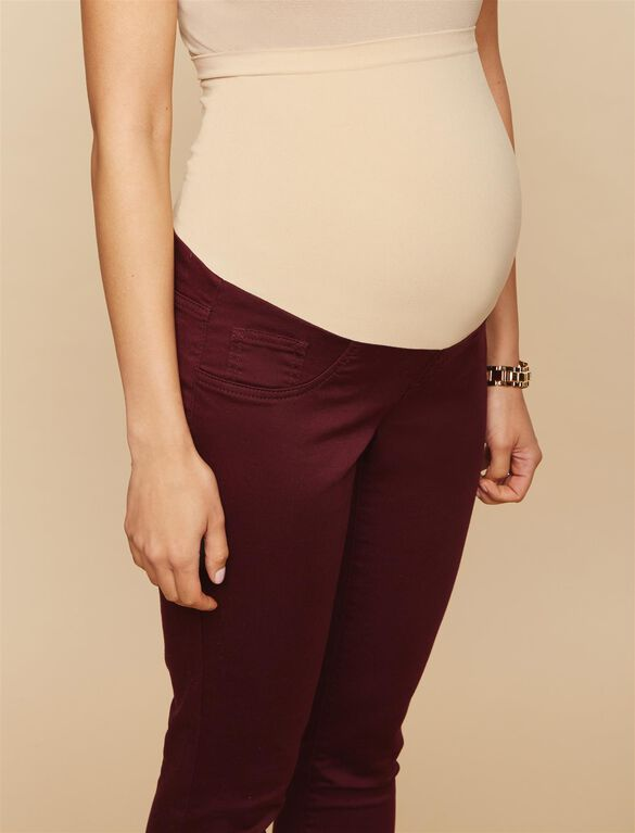 Secret Fit Belly Skinny Twill Maternity Pants- Burgundy, Burgundy