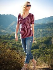 Striped Cross Front Maternity Shirt, Coral/Navy