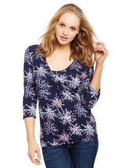 Pull Down Empire Seam Maternity Shirt- Confetti Print, Confetti