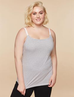Plus Size Nursing Clip Down Cami- Black, Grey/White Stripe