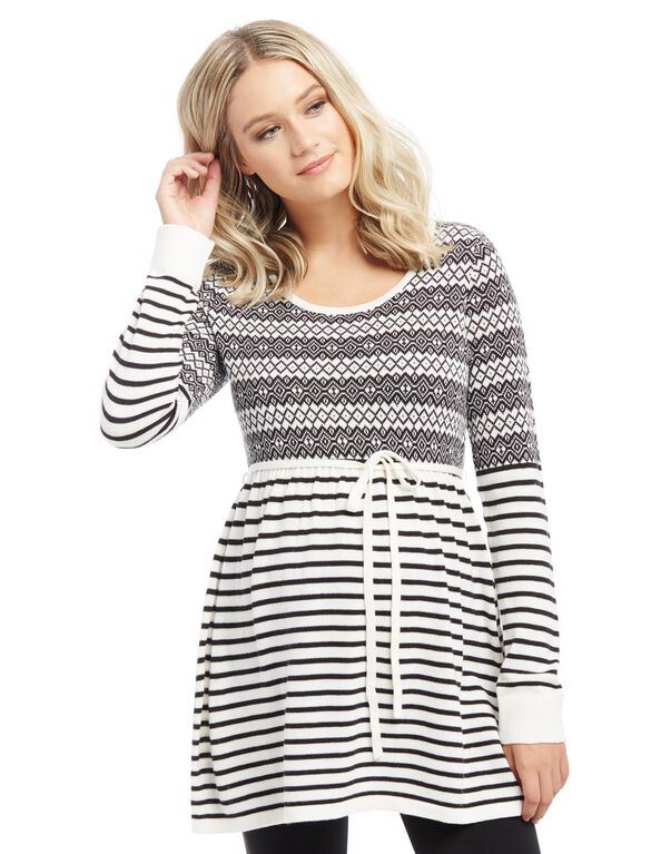 Fairisle Babydoll Maternity Sweater, Black/White