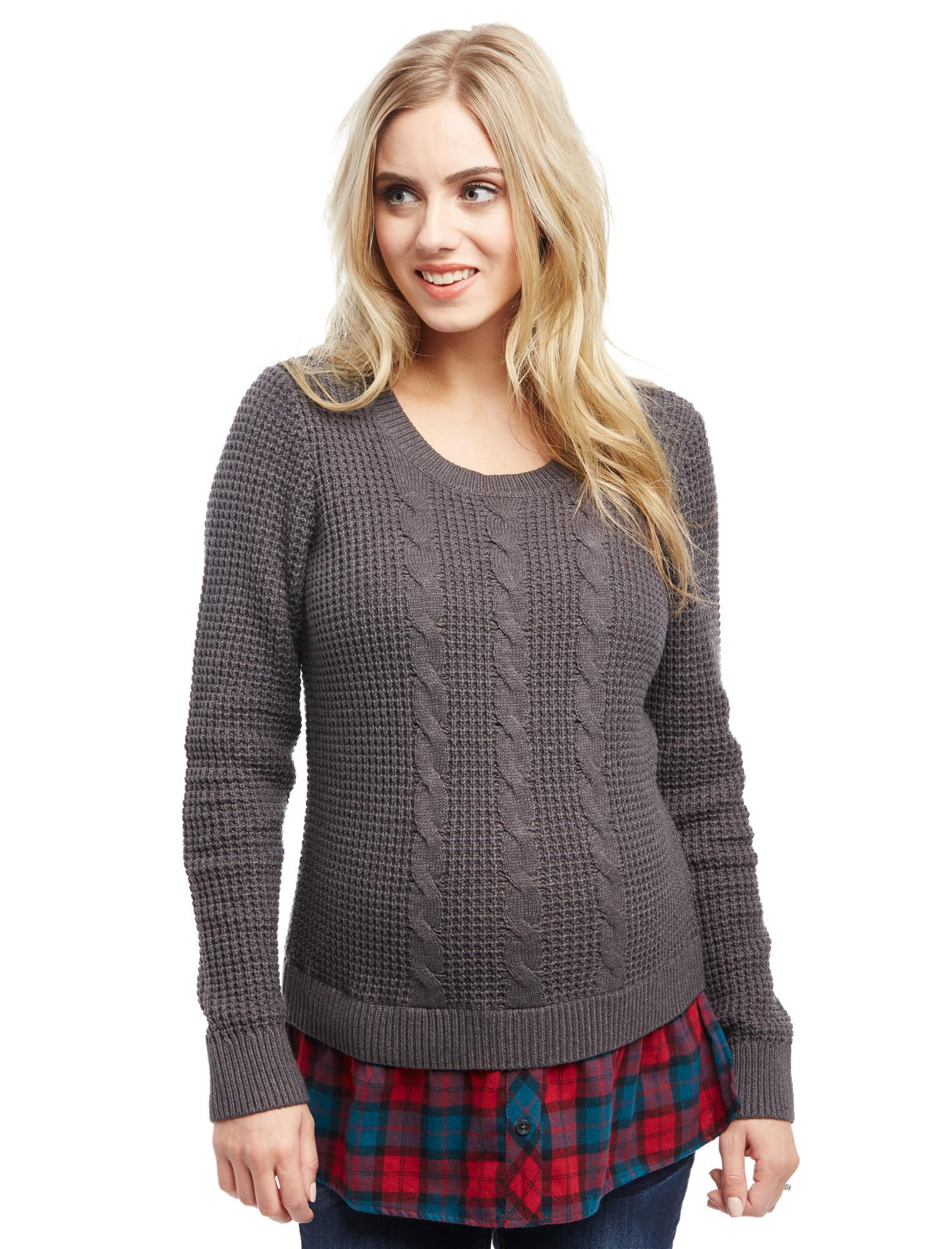 Cable Knit Plaid Maternity Sweater