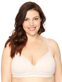 Jessica Simpson Plus Size Seamless Clip Down Nursing Bra, Rose