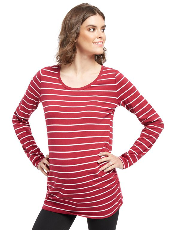 Bumpstart Long Sleeve Maternity T-shirt (2 Pack), Red / Black