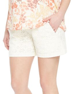 Secret Fit Belly Lace Maternity Shorts, Cream Lace