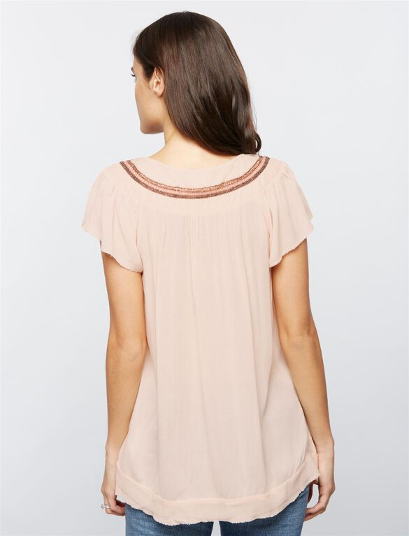 Luxe Essentials Denim Embellished Maternity Blouse, Pink