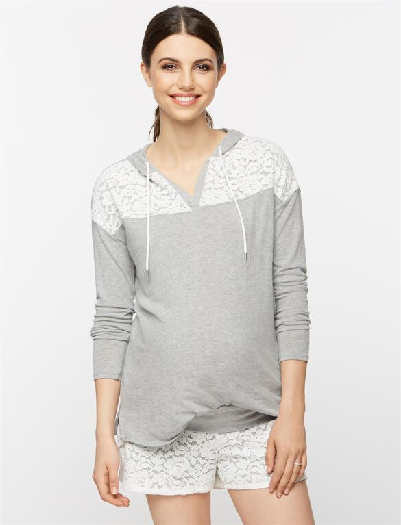 Lace Shoulder Maternity Sweatshirt, Heather Grey