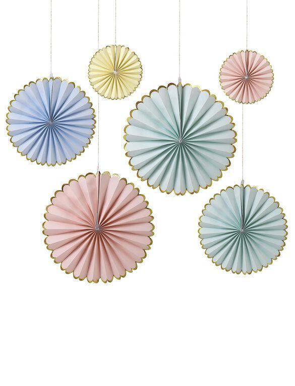 Meri Meri Pastel Pinwheel Decorations, Pastel