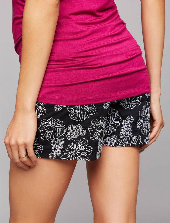 Secret Fit Belly Floral Embroidered Maternity Shorts, Black/White
