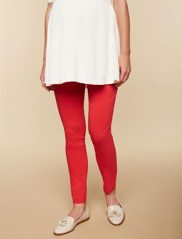 Secret Fit Belly Skinny Ankle Maternity Pants, Red