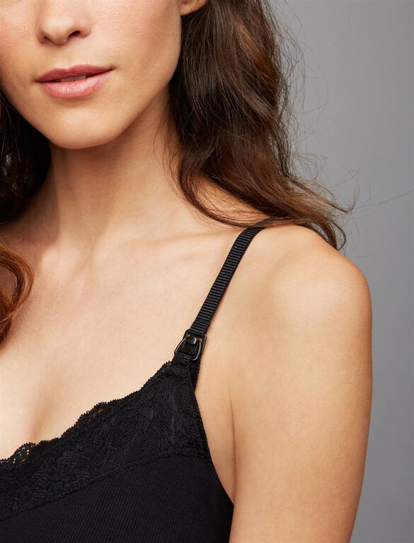 Rib Knit Midi Nursing Nightgown, Black