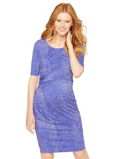 Seraphine Twist Front Maternity Dress, Blue Print