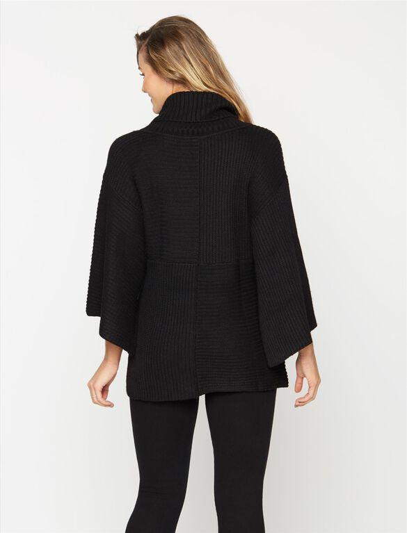 Quinn Poncho Maternity Sweater, Black