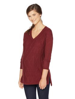 Cable Knit Maternity Sweater, Zinfandel