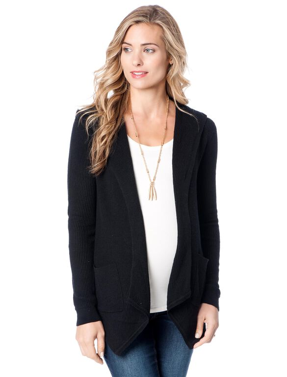 Splendid Long Sleeve Hooded Maternity Cardigan, Black