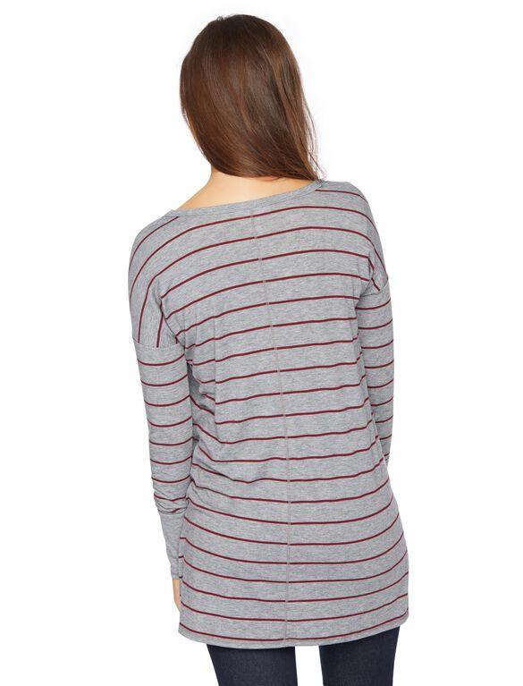 Pull Down Nursing Tee, Red&grey Stripe