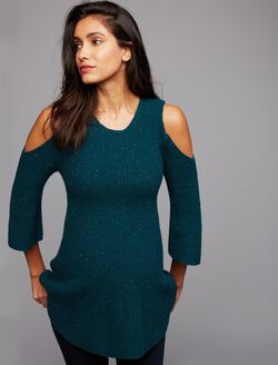Cold Shoulder Maternity Sweater, Green