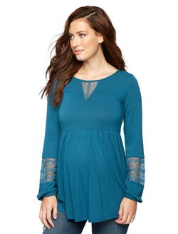 Lace Trim Keyhole Detail Maternity Top, Cool Teal
