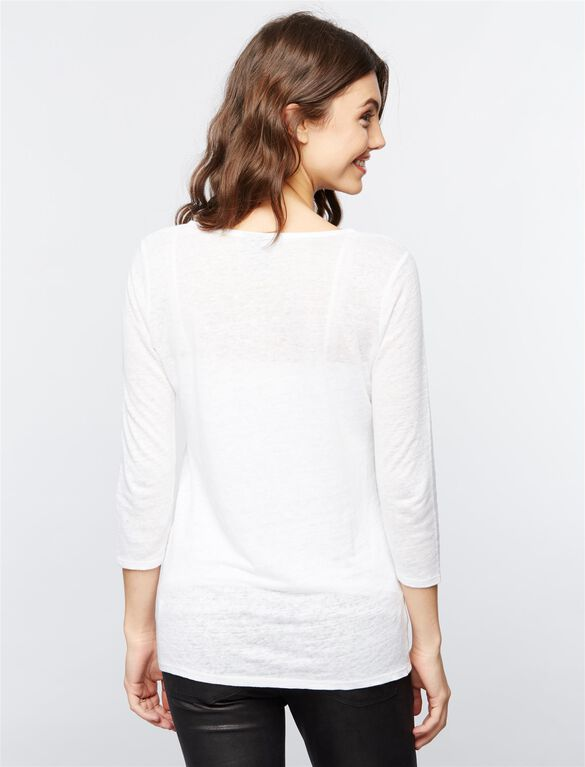 Linen Woven Maternity Top, Corporate White
