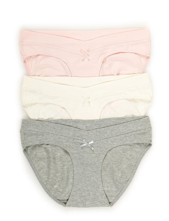Maternity Hipster Panties (3 Pack)- Pink/Grey, Pnk/Gry/Crm