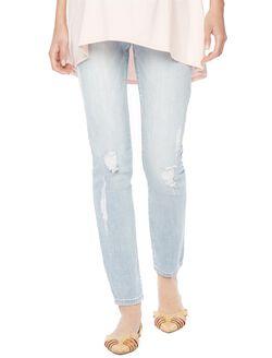 Indigo Blue Secret Fit Belly Skinny Light Maternity Jeans, Light Wash