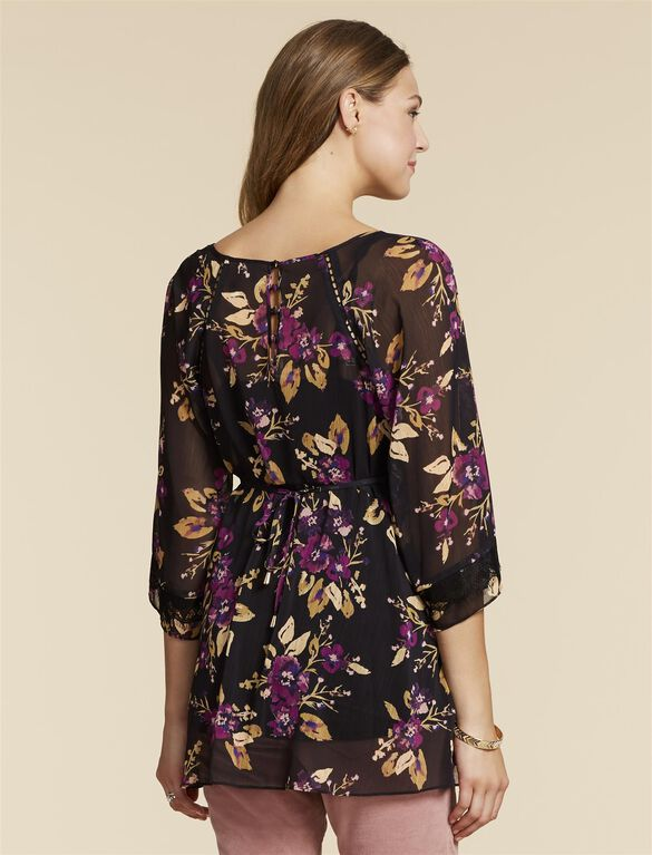 Jessica Simpson Lace Trim Maternity Blouse, Black Purple Floral