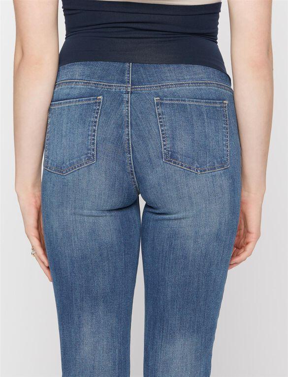 Luxe Essentials Denim Secret Fit Belly Skinny Leg Maternity Ankle Jeans, Medium Wash