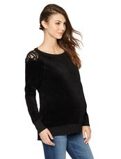 Back Interest Maternity Sweatshirt, Black