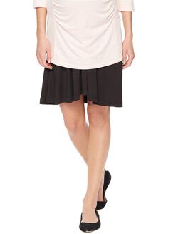 Fold Over Belly Relaxed Fit Maternity Skirt, Black