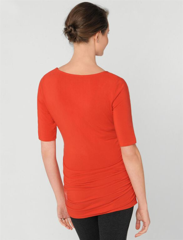 Elbow Sleeve Side Ruched Maternity Tee, Cajun Spice