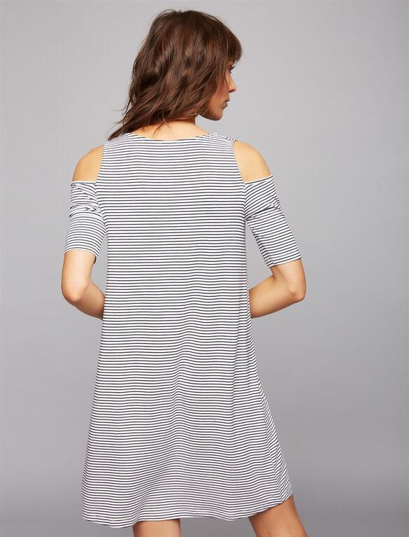 Pull Down Cold Shoulder Nursing Dress, Blk/Wht Stripe
