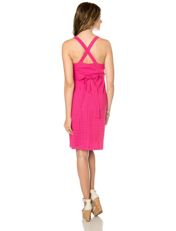 Back Interest Maternity Dress, Beetroot