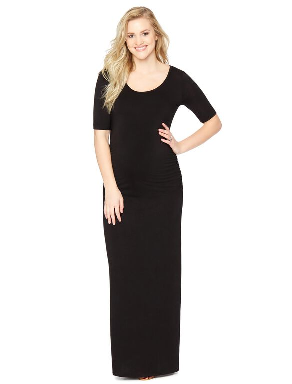 Side Ruched Maternity Maxi Dress, Black
