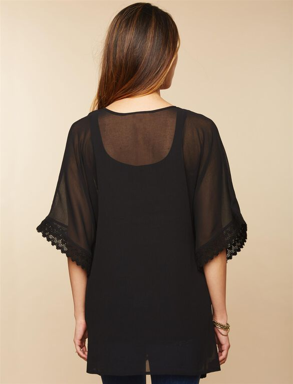 Lace Trim Maternity Kimono, Black 1