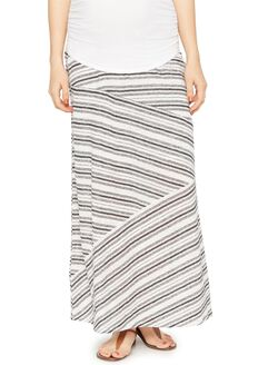 Secret Fit Belly Striped Linen Maternity Maxi Skirt, Black/White Stripe