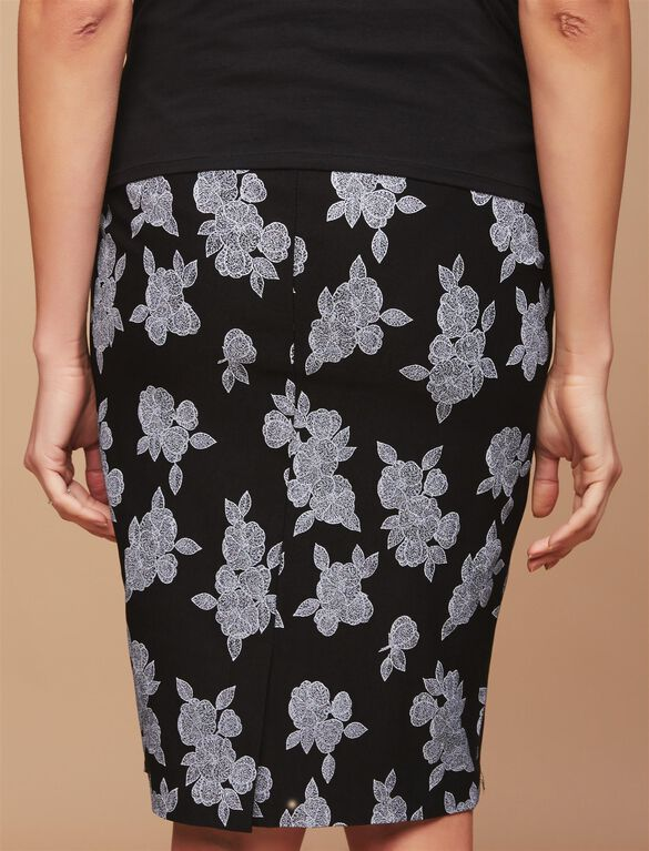 Secret Fit Belly Pencil Fit Maternity Skirt- Black/White Floral, Black/White Floral
