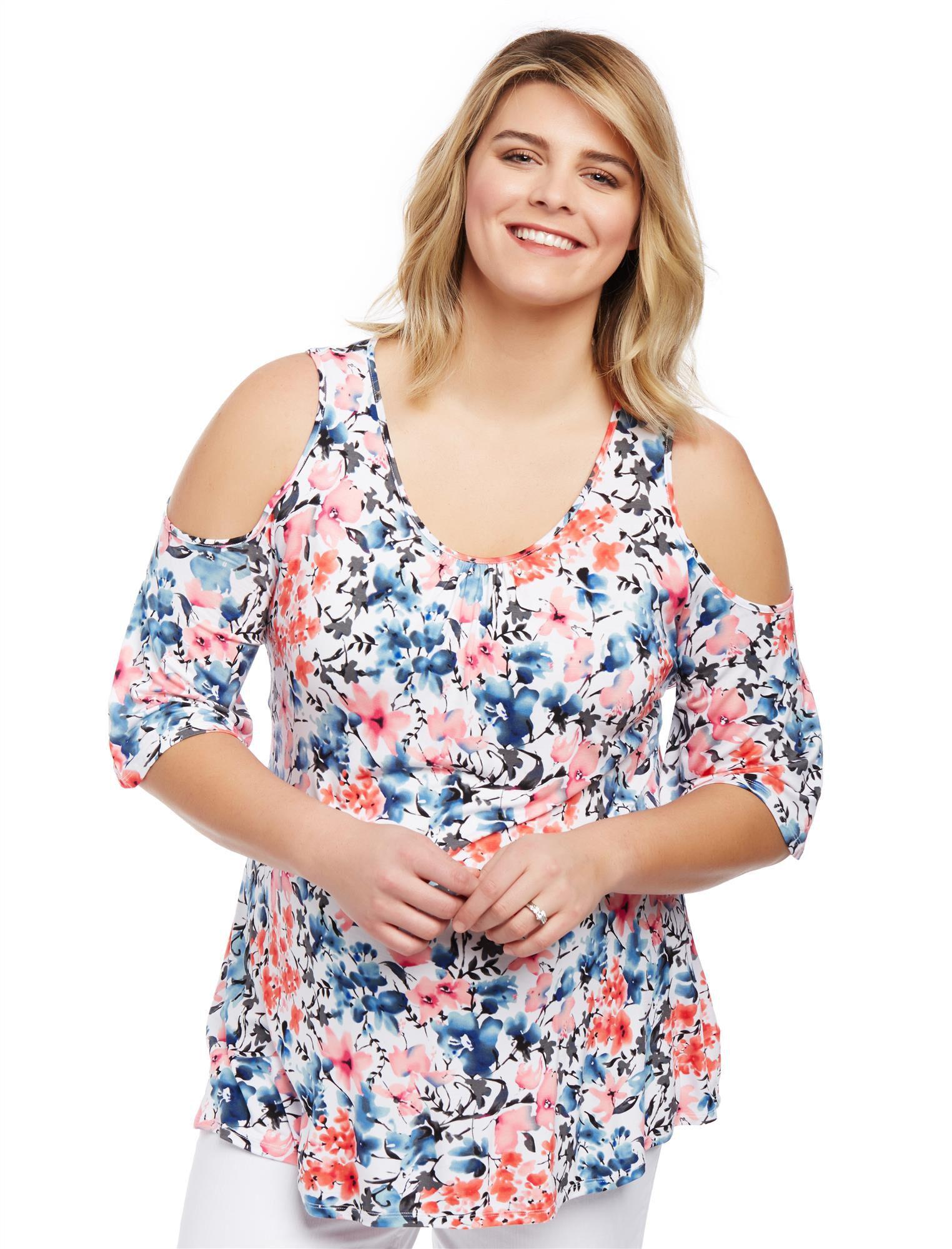 Plus Size Cold Shoulder Maternity Blouse