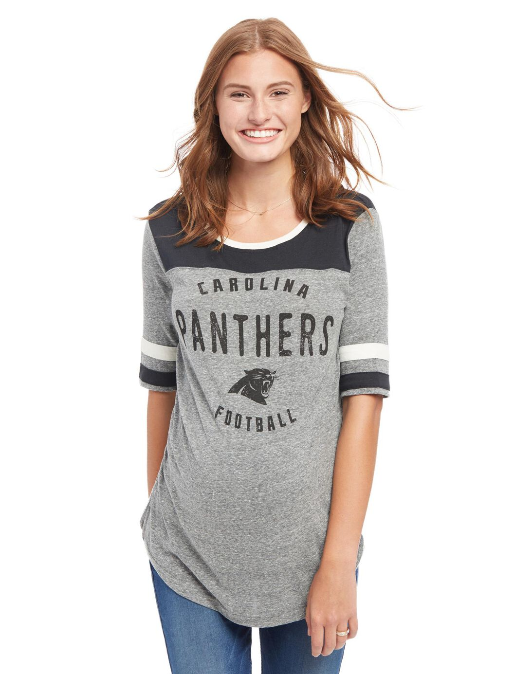 Carolina Panthers NFL Elbow Sleeve Maternity Graphic Tee at Motherhood Maternity in Victor, NY | Tuggl