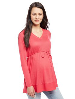 Knit Woven Hem Maternity Tunic, Pink Rouge
