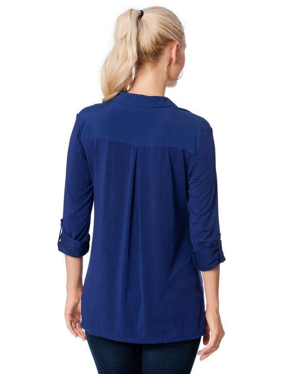 Hanky Hem Maternity Shirt, Blueberry