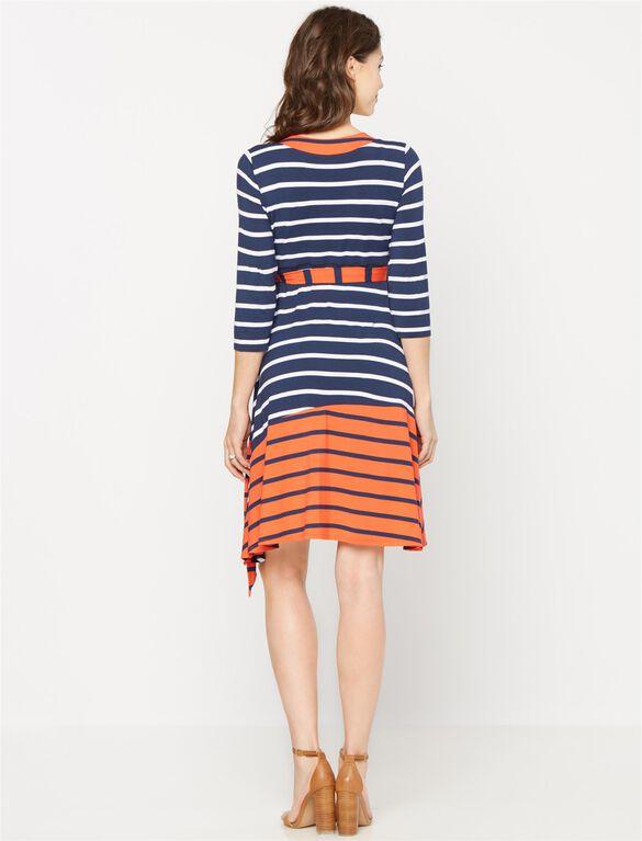 Wrap Maternity Dress, Multi Stripe