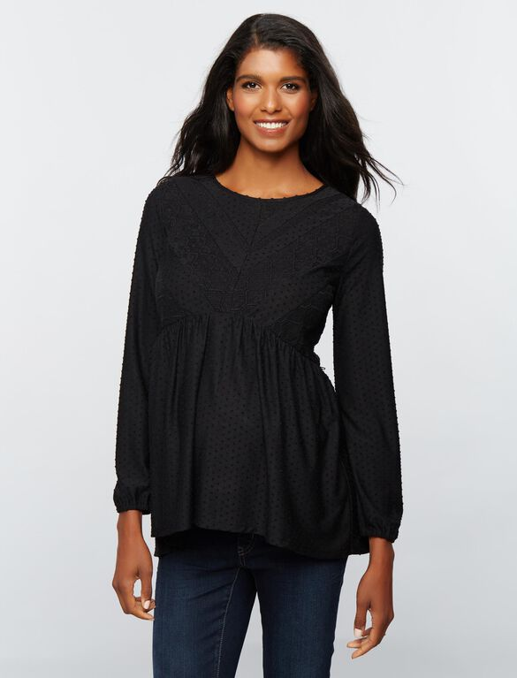 Daniel Rainn Peplum Maternity T Shirt, Black