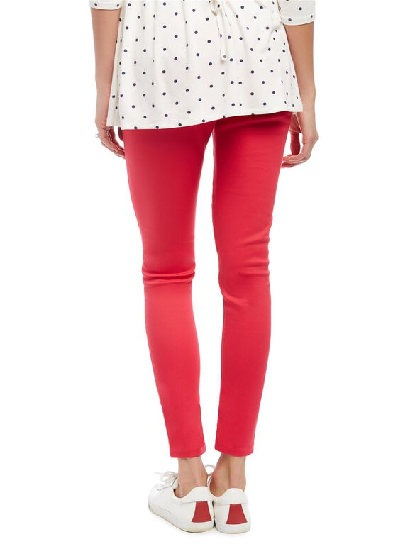 Secret Fit Belly Skinny Twill Maternity Pants- Pink Rouge, Pink Rouge